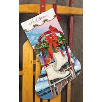 Needlepoint Christmas Stocking Kit Ice Skates Dimensions 16 Long