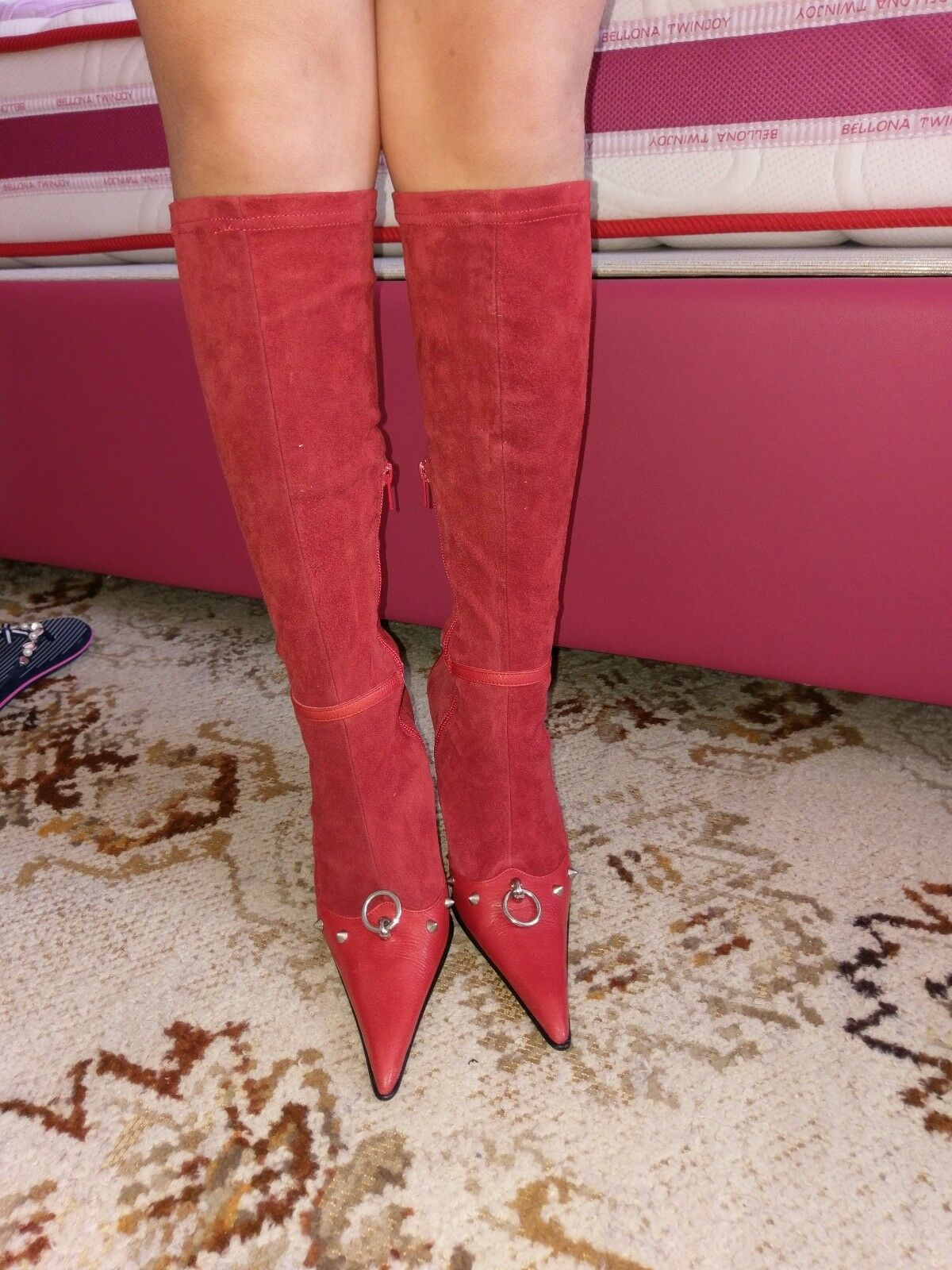 1450 JEU DE  FEMME rosso Stretch stivali Sue Cuoio Heels Italia moneta bicego  forniamo il meglio