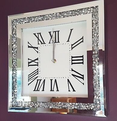 Loose Diamante Mirrored Wall Clock Crushed Jewel Roman Number Glassclock 35cm