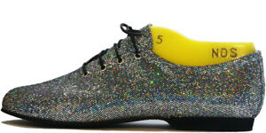 Silver-Black-Hologram-Glitter-Full-Suede-Rubber-Sole-Jazz-Shoes
