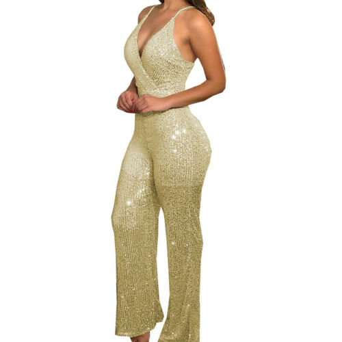 Fashion Women Long Rompers Sleeveless Strap High Waist Summer Jumpsuits Playsuit
