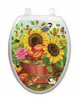 Toilet Tattoos® Autumn Basket Vinyl Seat Lid Cover Sunflowers Reusable