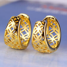 Amazing 9K Yellow Gold Plated Openwork Womens Hoop Earrings,Z5227