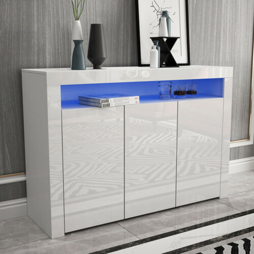 White Sideboard Cabinet RGB LED High Gloss With 3 Doors Matt Body Cupboard New