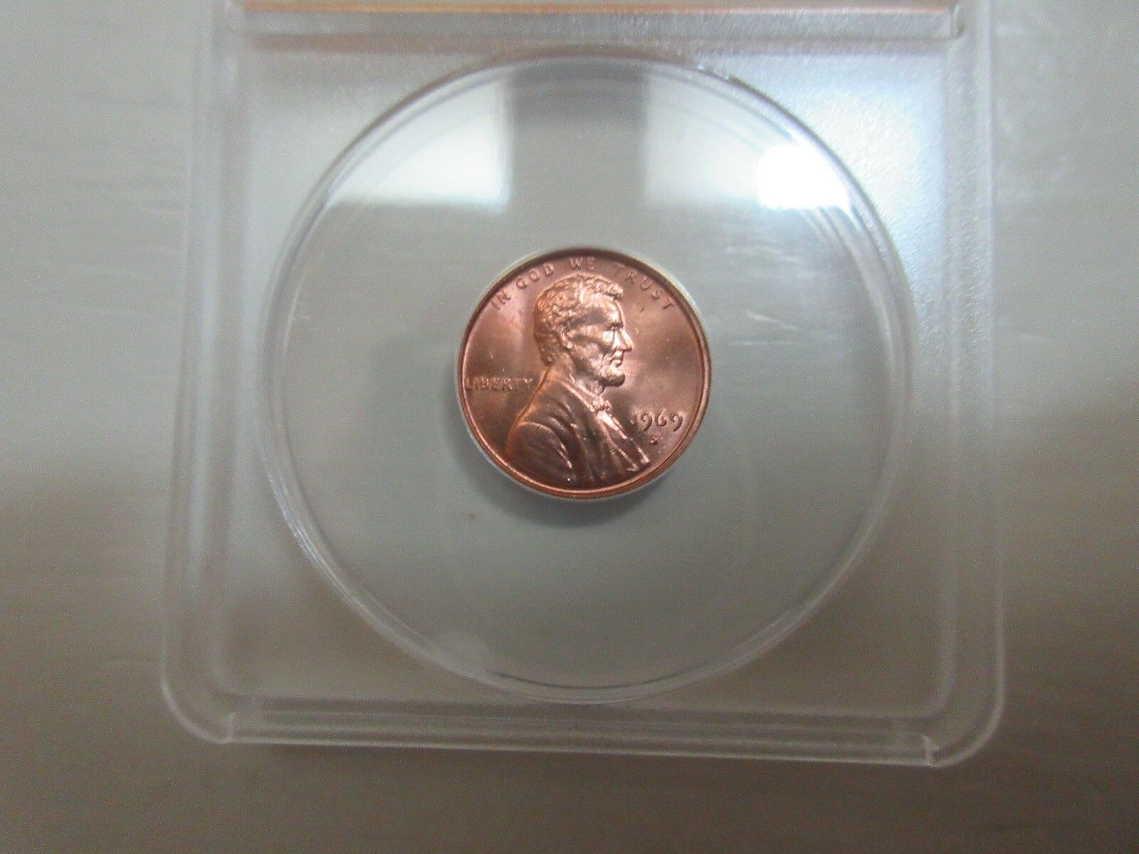 1969-S , Lincoln Penny , MS 65 , Red , Anacs