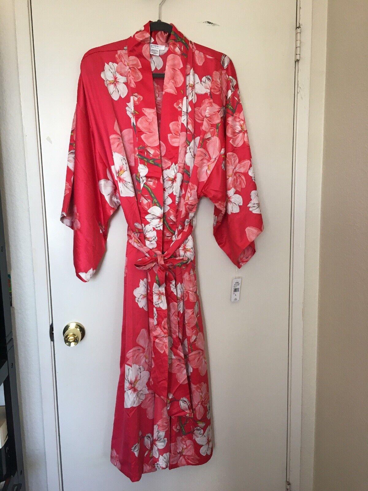 NWT Natori Private Luxuries  Pink Magnolia Wrap Kimono Robe XL