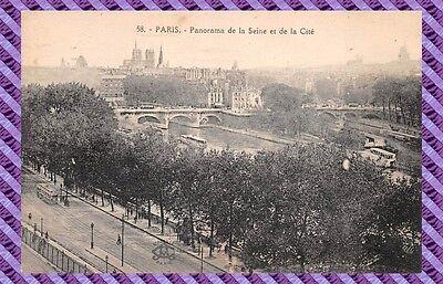 Panorama sur la Seine vers Notre Dame et la Cité 75 CPA PARIS