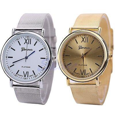 Fashion Women Stainless Steel Band Roman Numerals Quartz Analog Wrist Watch