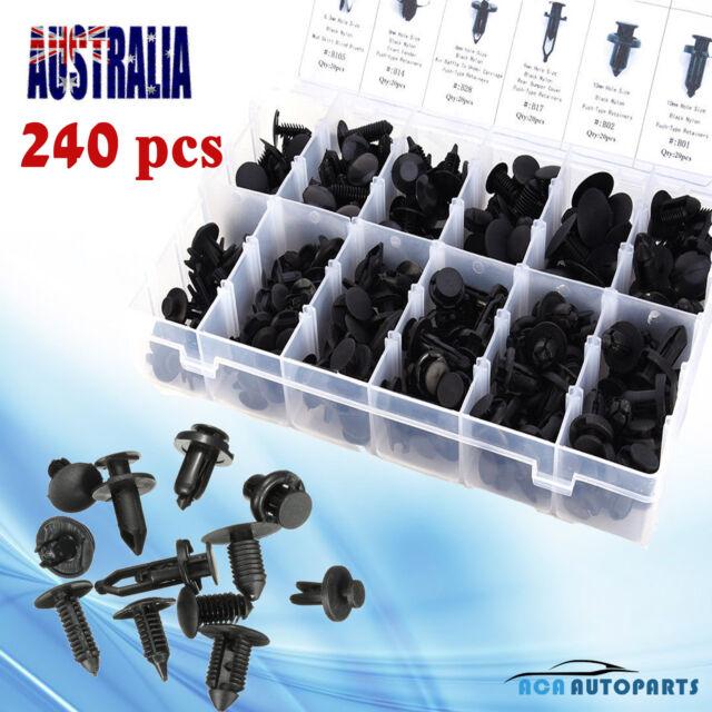 New 240pcs Plastic Automotive Push Pin Rivet Trim Clips Assortment Kit For Ford