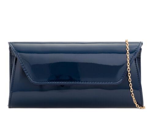 Women Patent Leather Clutch Medium Evening Party Handbag Ladies Prom Bridal Bag