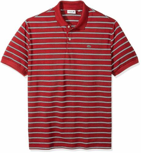 Lacoste Men/'s Short Sleeve Stripe Pique Regular Fit Polo Shirt PH3154 Turkey Red