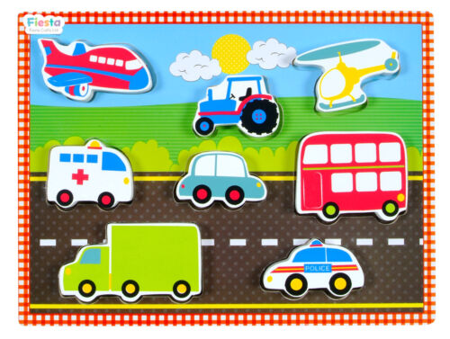 by Fiesta Crafts Childrens Chunky Wooden Vehicles Cars Puzzle 9 Pieces Age 1