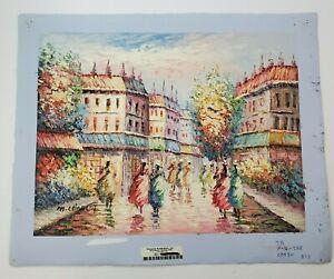 PPI-Vtg-Signed-Marie-Charlot-Oil-Painting-Impressionist-Women-Walking-NO-FRAME