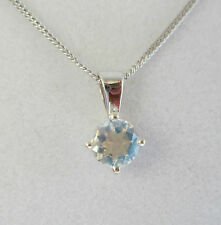 New 5mm Moonstone 9ct White Gold Pendant Necklace & 18 inch Gold Chain