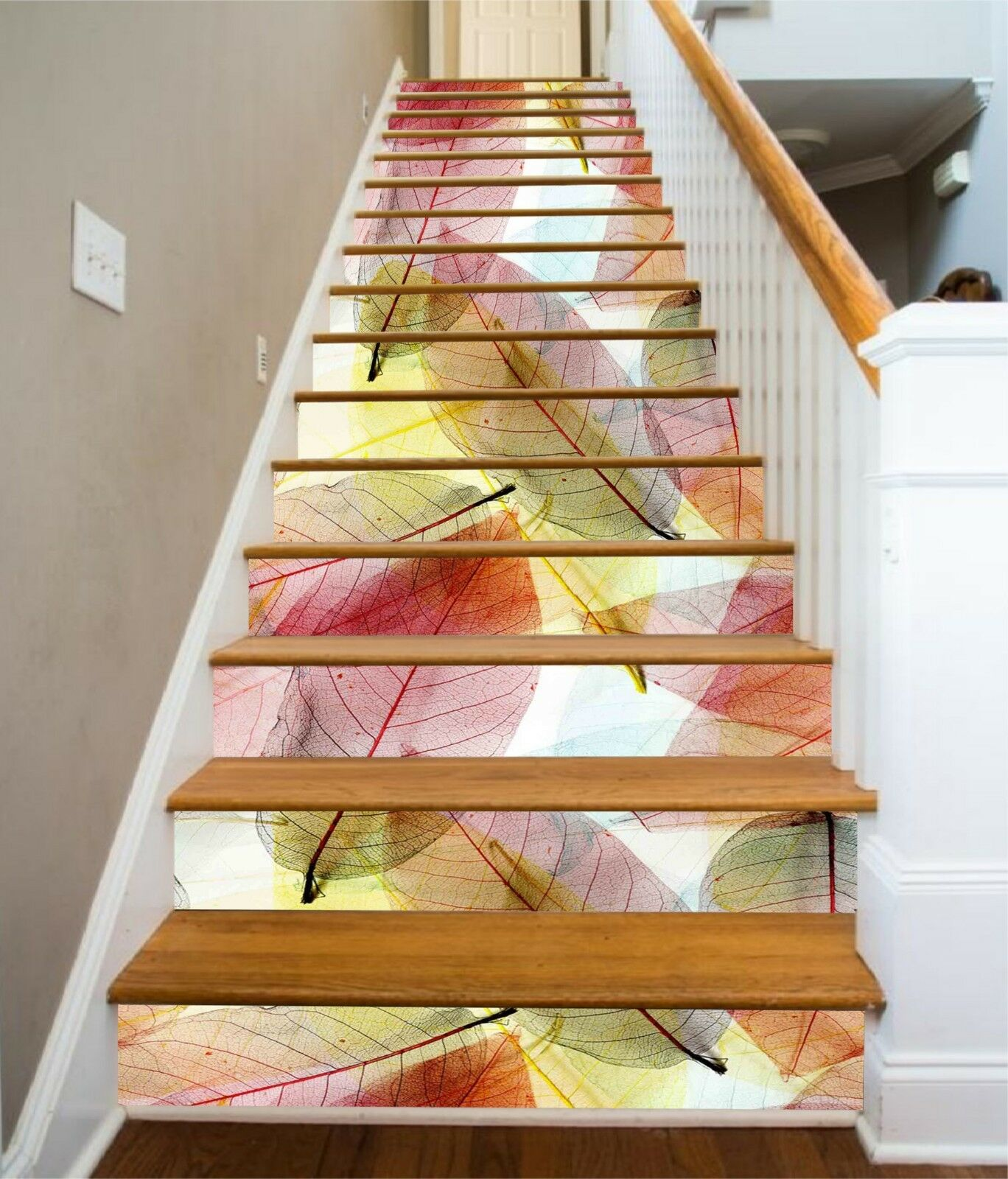 3D colord Leaves 4 Stair Risers Decoration Photo Mural Vinyl Decal Wallpaper CA