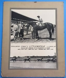 *LITTLEWHITELIE* 1950 HORSE RACE / RACING WINNER'S CIRCLE ORIG PHOTO Delaware Pk