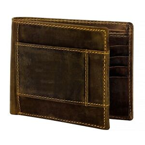 Genuine-Hunter-Leather-Men-039-s-Bifold-Wallet-with-RFID-Protection-Dark-Brown