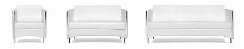Designer Büro Sofa Set Sidney weiss 3 Teilig Bürosofa Set Kunstleder Exklusiv