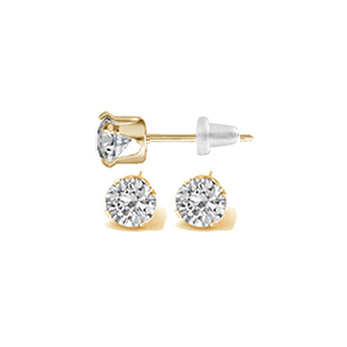 ROND TAILLE BRILLANT 6 AAAAAA zircone cubique stud earring 50 ct 10k solide or jaune 1//2ct