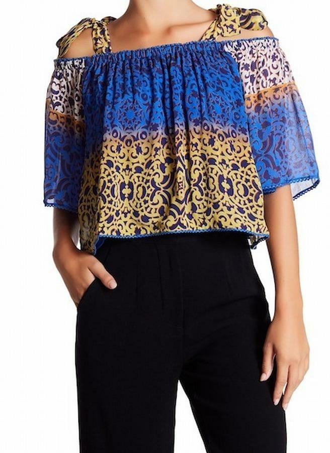NICOLE MILLER  blueES BROWNS Print Off-The-Shoulder BLOUSE SHIRT TOP SZ L NWT