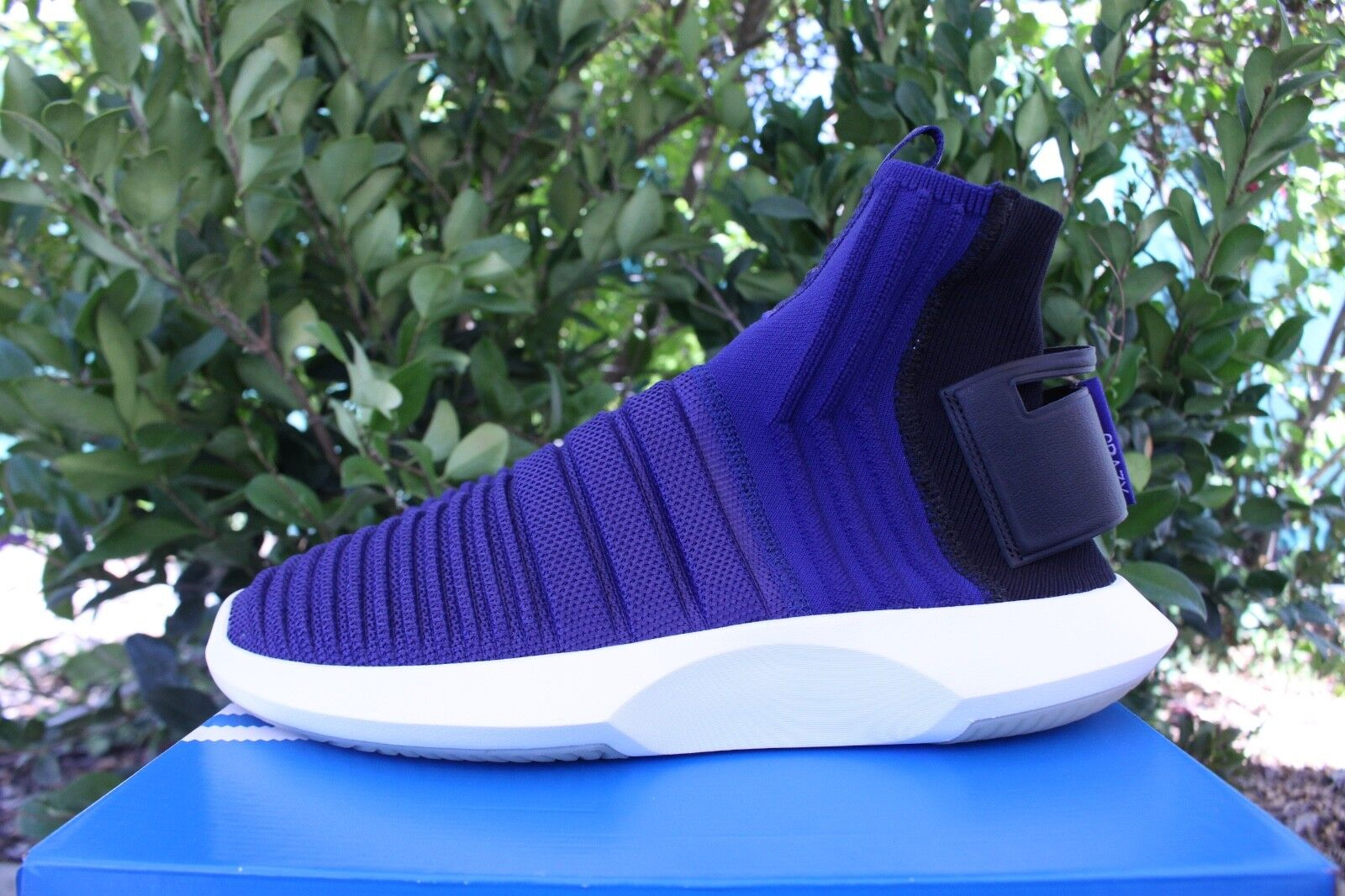 ADIDAS CRAZY 1 ADV SOCK PK SZ 12 PRIMEKNIT REAL PURPLE CORE BLACK CQ1011