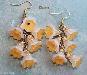Unique-flowers-Jonquil-bell-flower-beaded-EARRINGS-Jewellery-Orange