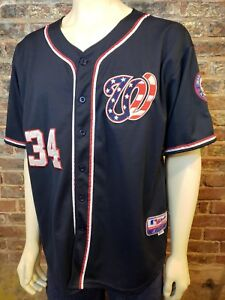 the latest 0444b 68637 Details about Majestic Cool Base Jersey American Flag W Bryce Harper 34  Nationals Mens 52