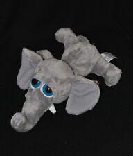 Peluche doudou éléphant Gazoo RUSS BERRIE gris yeux durs 29 cm couché TTBE