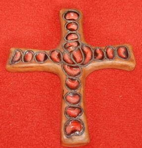 Antik-Kruzifix-in-Terrakotta-Glasiert-Original-und-Unterzeichnet-Bon-Zustand