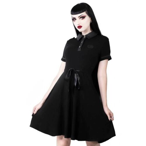 Dark Doll Schwarz Killstar Gothic Goth Okkult Wiccan Skater Kleid Minikleid