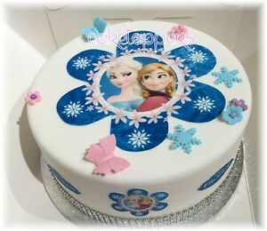 Edible Cake Decorations Frozen : EDIBLE FROZEN ANNA & ELSA FLOWER ICING GIRLS CAKE TOPPER ...