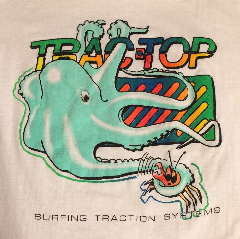 Vintage 1980s Trac-Top Surfboard Traction T-Shirt Squid Crab Surfing Surf Beach