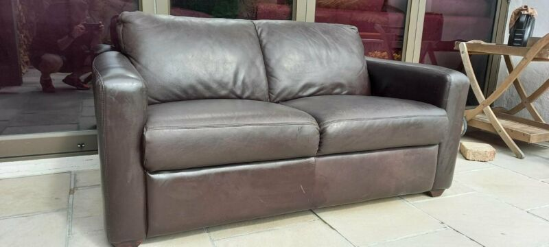 Lovely Petite Leather Couch 2 Seater 155cm long