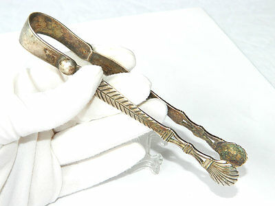 ca.1855 Victorian Etched Solid SILVER TONGS Sugar Picker LB Antique