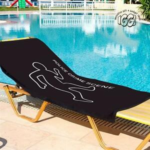 Details about Crime Scene Beach Towel Black 100% Cotton Sun Pool Lounger  Bath Bed Holiday CSI