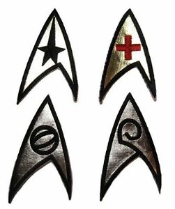Star Trek Original Series Set of 4 Embroidered Insignia Chest GOLD FOIL Patches