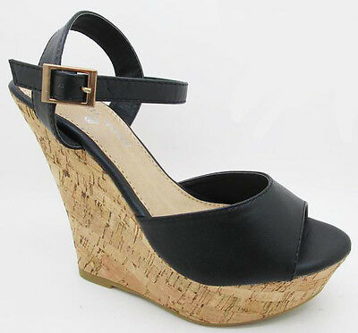 NEW Slip On Cork Wedge Platform Peep toe High Heel Fashion Party Pump Women Shoe