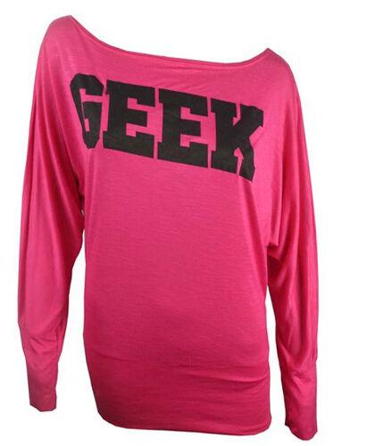 NEW LADIES GEEK PRINT OFF SHOULDER BATWINGS LONG SLEEVE BATWING DRESS TOP 8-16
