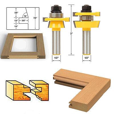"New 2Pcs Rail & Stile Router Bit 1/2"" Shank Shaker Chisel Cutter Woodworking Set"