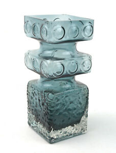 Riihimaki-Glass-Riihimaen-Lasi-Smokey-Blue-Kehra-1496-Vase-by-Tamara-Aladin