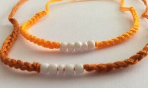 2-Bracelet-BONZE-ORANGE-Thai-sacre-Sai-Sin-beni-coton-tisse-Chance-Bouddhisme