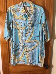 Kahala-Turquoise-Blue-Floral-Pocket-Short-Sleeve-Button-Front-SHIRT-Size-L