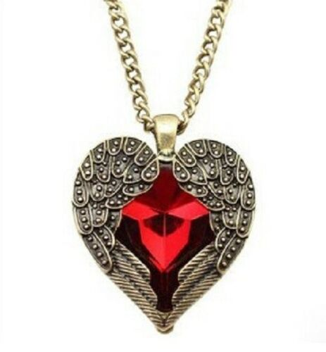 Gótica Alas de ángel Corazón Collar Regalo Collar Romántico Rojo Día de San Valentín Bronce