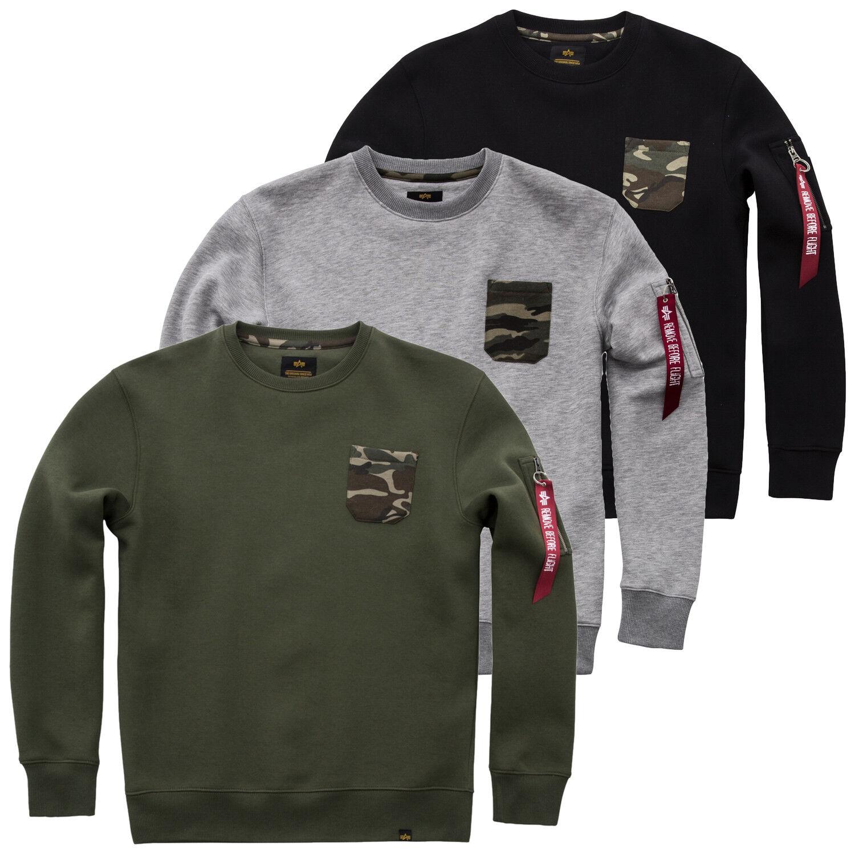 Alpha Industries Herren Sweater Camo Pocket Sweatshirt Pullover Pulli S bis XXL
