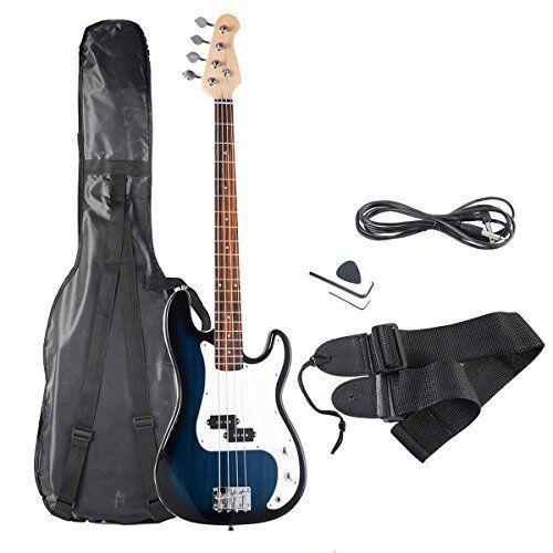 Goplus Electric Bass Guitar Full Größe 4 String mit Strap Guitar Bag Amp Cord US