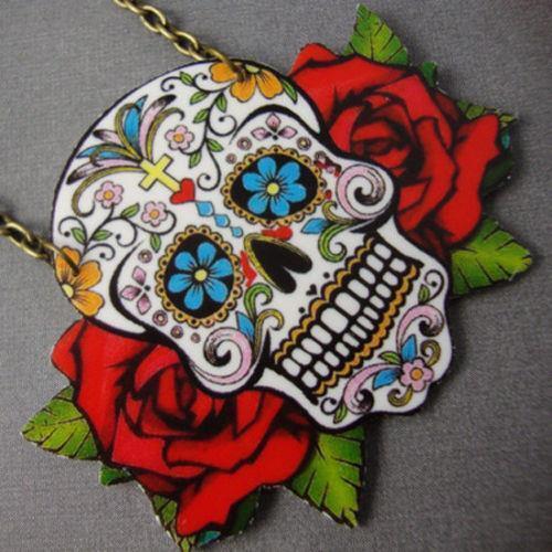 Sugar Skull Day of the Dead Tattoo Red Necklace Kitsch Rockabilly Psychobilly