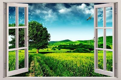 Green Field Meadow 3D Window View Decal WALL STICKER Home Decor Art Mural