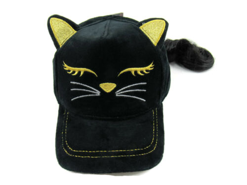 Claire/'s Black /& Gold Cat Baseball Hat with Brunette Faux Hair Girls One Size