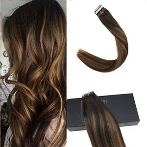 5d834f9de1 Sunny Hair Tape in Human Hair Extensions Balayage Dark Brown Mixed ...