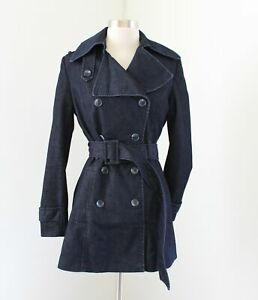 Vince-Camuto-Womens-Denim-Dark-Wash-Peacoat-Jacket-Belted-Coat-Size-XS